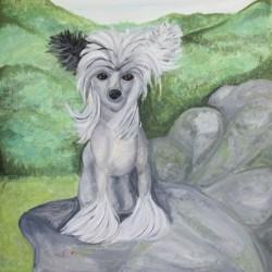 schilderij chinese naakthond